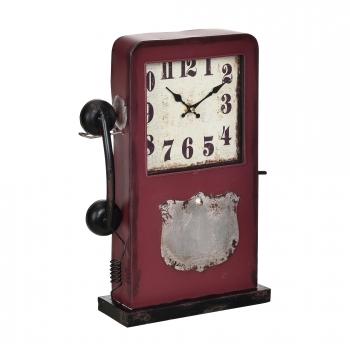4f569f146e60  en.casa ® Reloj De Mesa Diseño Cabina De Teléfono Con Pantalla Analógica