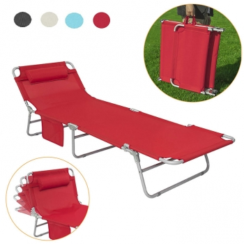 Tumbona Inclinable De Acero Plegable Roja