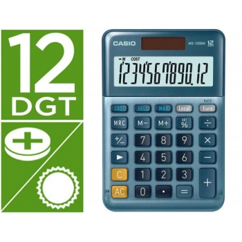 Calculadora Casio Ms-120em Sobremesa 12 Digitos Tx +/- Tecla Doble Cero Color Azul