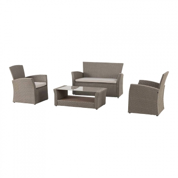 Set Bora Bora Sofa Dos Sillas Y Mesa Marron