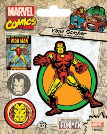 Sticker Vinilo Marvel Comics Iron Man Retro