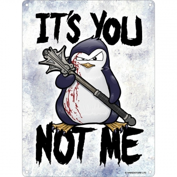 Psycho Penguin - Mini Placa De Hojalata Modelo It`s You Not Me (tamaño Único) (plata)