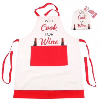 Cgb Giftware - Delantal De Regalo Will Cook For Wine (tamaño Único) (blanco/rojo)