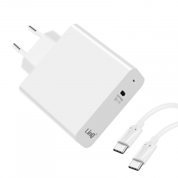 Cargador 1x Usb-c Power Delivery 45w + Cable Usb-c/usb-c Linq - Blanco