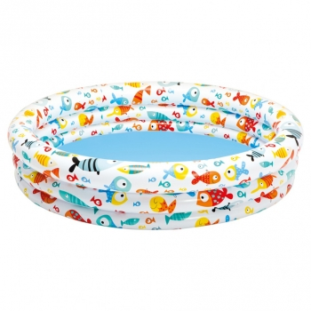 Piscina Hinchable Intex 3 Aros Peces 132x28 Cm - 248 L/agua