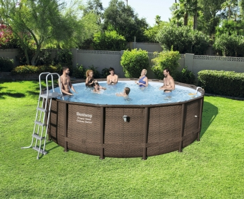 Piscina Desmontable Tubular Bestway Power Steel Diseño Rattan 488x122 Cm