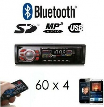 Radio Para Coche Con Bluetooth 60x4 Micro-sd/usb/aux Fm Mp3 Mando A Distancia