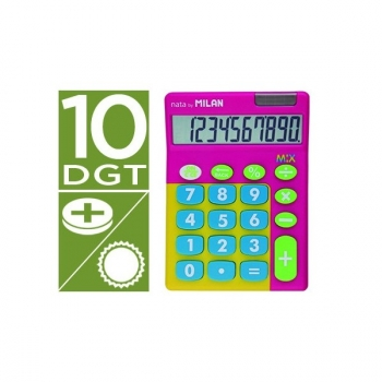 Calculadora Milan Mix 10 Digitos Rosa En Blister