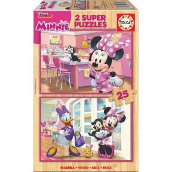 Puzzle Minnie &#38 The Happy Helpers Disney Madera 2x25pz