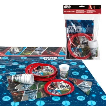 Pack De Fiesta Star Wars: Mantel + Platos + Vasos + Servilletas Reciclable