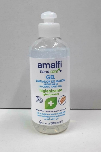 Gel Antibacteriano Amalfi 78% Alcohol - 300 Ml.