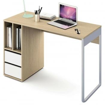 a33bc937ed32e Escritorio Mesa Ordenador Color Roble Y Blanco Con 2 Cajones Y 2 Huecos Para  Oficina
