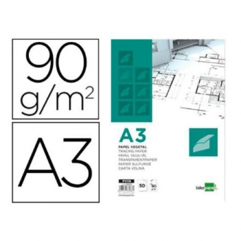 Bloc Papel Vegetal Liderpapel Encolado 297x420mm 50 Hojas 90 G/m2