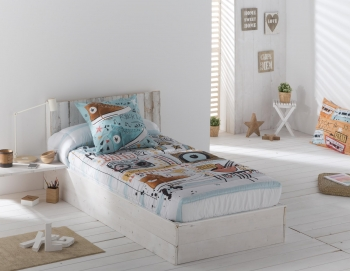 Edredon Ajustable Music Color Unico Cama De  150
