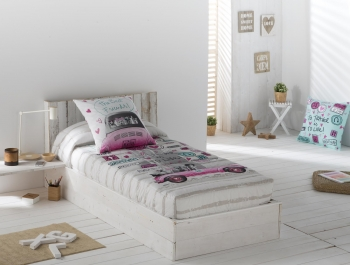 Edredon Ajustable Candy Color Unico Cama De  150