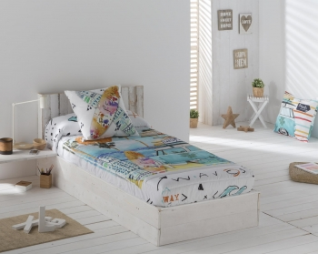 Edredon Ajustable Beach Color Unico Cama De  135