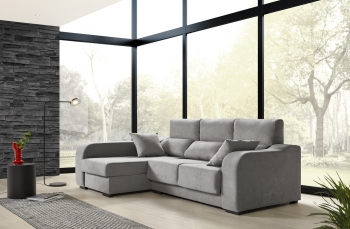Sofá Chaiselongue Zafiro 3 Plazas Tela Antimanchas Izquierda Color Gris