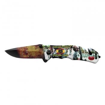 THIRD Cuchillo botero H0062 con Hoja de Acero 420 de 12 cm Funda de Nylon Mango de ABS Negro