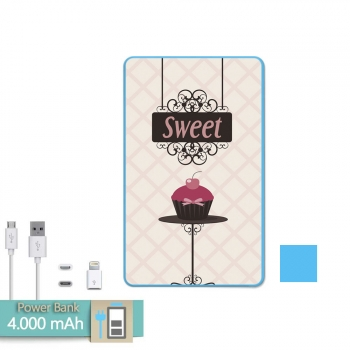 8b61b1d297c Batería Externa Power Bank 4000 Mah Azul Cupcake Dulce Color Rosa + Gratis  Cable Usb-