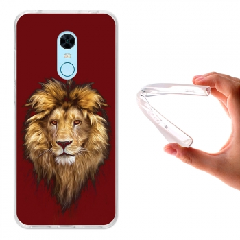 Funda Gel Para Xiaomi Redmi Note 5 - Redmi 5 Plus, Carcasa Tpu Flexible. Dibujo León - Becool®