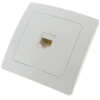 Bematik - Base Con Toma De Red Rj45 Empotrable Con Marco 80x80mm Serie Lille De Color Blanco Me02600