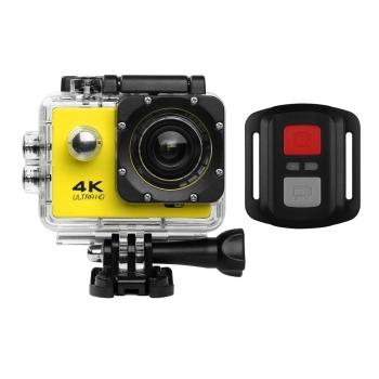 Action Cam Pro Wireless 4k Klack® Con Mando Camara Deportiva Bici, Aquatica Amarillo