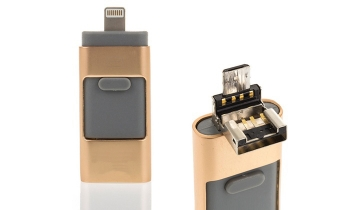 Pendrive Otg 3 En 1, Android/ios/usb Pc Y Smartphone 16gb Dorado