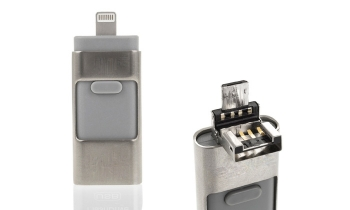 Memoria Iflash Otg  3 En 1  De 32 Gb Color Plata Compatible Con Iphone (ios) Y Android