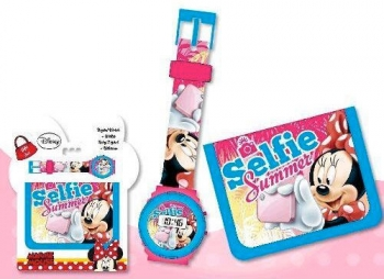 Set Regalo Reloj Digital Y Billetera De Minnie Mouse