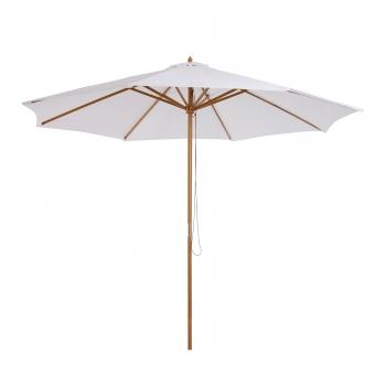 sombrilla parasol blanco crema madera terraza playa jardin piscina camping - Sombrillas De Playa Grandes