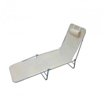 8d65fc079 Outsunny® Tumbona Plegable Con Almohada Para Jardín Terraza Crema  182x56x24.5 Cm