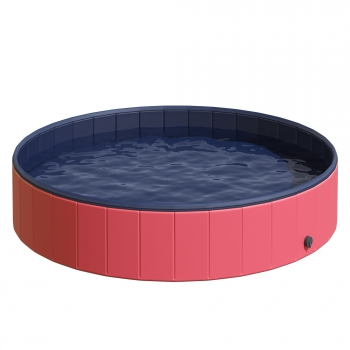 Piscina Para Perros Plegable De Pvc Pet Tablones Φ160x 30cm - Pawhut. Rojo Y Azul Oscuro.