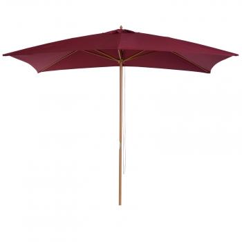 21dd2681 Sombrilla Tipo Parasol Para Terraza Y Jardín - Color Vino - Madera Y  Poliéster - 2x3m