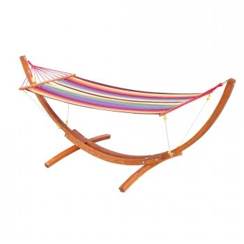hamaca tumbona doble 315x100x110cm playa camping marco madera carga max 120kg rojo - Tumbonas De Jardin