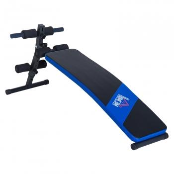 Banco De Musculación Plegable Ajustable A 4 Niveles Homcom Acero Pvc Eva 144x47cm, Negro Y Azul.