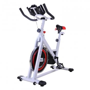 Bicicleta Estática Con Pantalla Lcd Asiento Y Manillar Ajustable Homcom Acero Abs 107x48x100cm, Blanco.