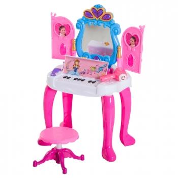 b9c9ab7161ce5 Homcom® Mesita Tocador Infantil Juguete Piano Con Taburete 15 Accesorios  Espejo Con Remoto