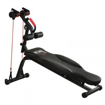 Banco De Ejercicio Abdominales Plegable Para Fitness Homcom Acero Pvc Eva 150x45x77-85cm, Negro.
