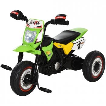Moto Infantil Con 3 Ruedas Verde Homcom