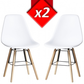 Pack 2 Sillas Tower Halley Blanco, Silla Eames Blanco Y Madera De Haya