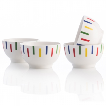 Set 4 Bols 650ml New Bone China Diseño Rayas De Colores Casa Benetton