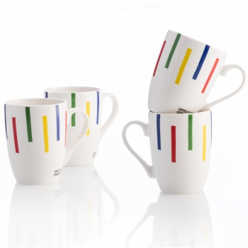 Set 4p Mugs Casa Benetton 360ml New Bone China Diseño Rayas De Colores