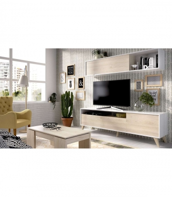 Conjunto De Muebles De Salon Bonn , Color - Blanco Brillo/ Natural