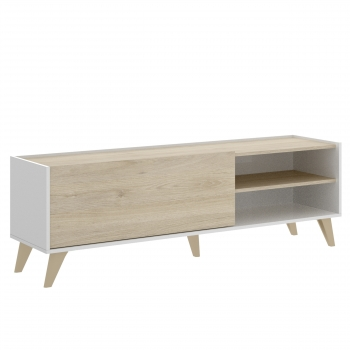 Mueble Tv Ness 155x47x43 Cm Natural - Blanco