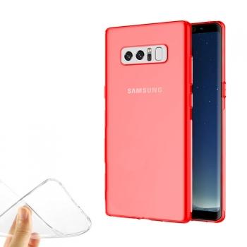 4adbaf2b96e Donkeyphone - Funda Carcasa De Silicona Rojo Para Samsung Galaxy Note 8 Gel  Tpu Lisa Transparente
