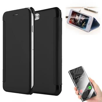 c1318db28dd Donkeyphone - Funda Flip Cover Premium Espejo Negro Tapa Y Estilo Wallet Con  Apertura Libro Para