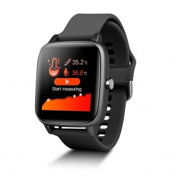 Smartwatch Deportivo Con Sensor De Temperatura Smartek Sw-660 Negro