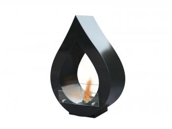 Biochimenea De Suelo Color Negro Con Cristal Templado Atenea B