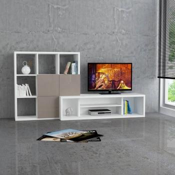 Mueble Tv Debi, 215x45x110 Cm, Color Blanco, Marron