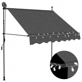 Toldo Manual Retráctil Con Led Gris Antracita 200 Cm Vidaxl